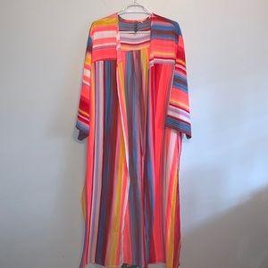 Honeyme Long Colorful Kimono Duster